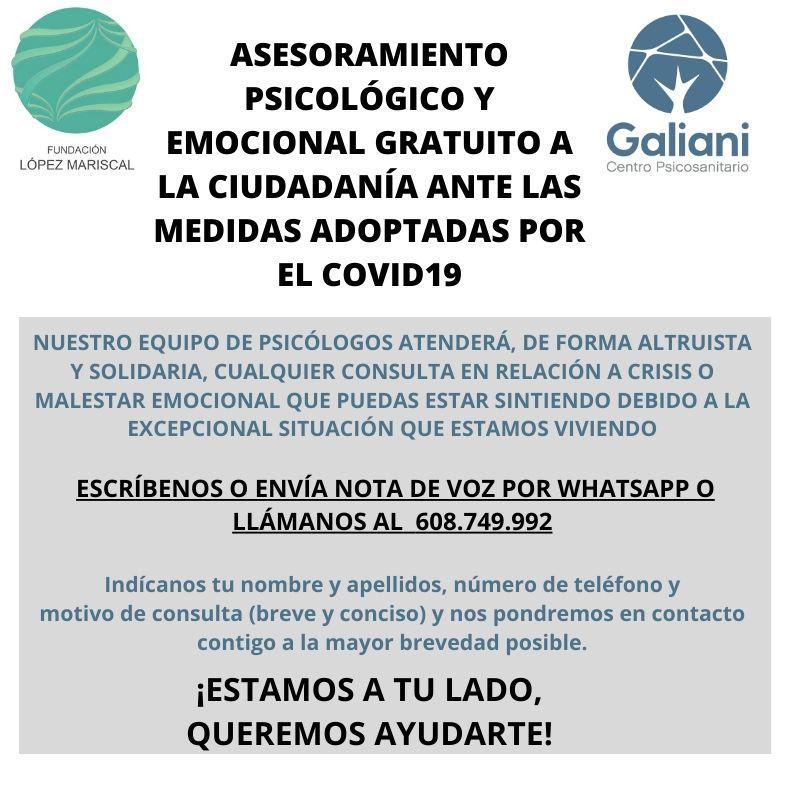 Asesoramiento psicológico gratuito ante el Coronavirus