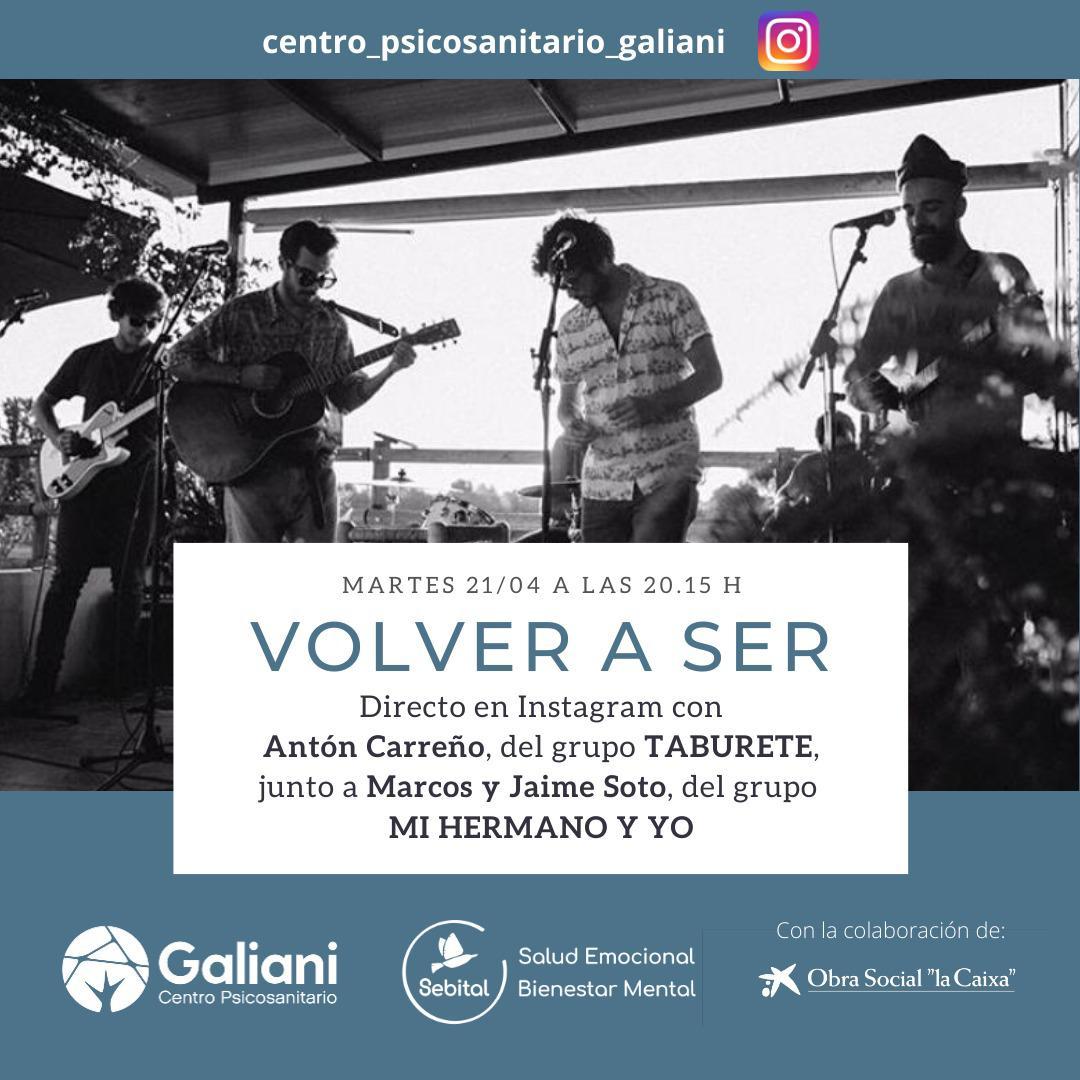 Directo de Instagram con Antón Carreño, del grupo Taburete, y Marcos y Jaime Soto, del grupo Mi Hermano y yo